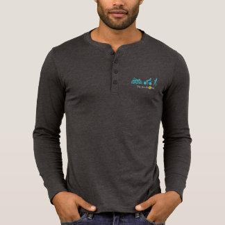 70,3 Com Aloha a luva longa do Henley dos homens Camiseta