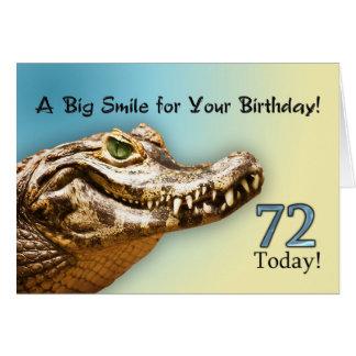 72nd Cartão de aniversário com um jacaré de