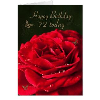 72nd Cartão de aniversário com uma rosa vermelha