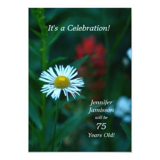 75 anos de festa de aniversário idosa convidam a convite 12.7 x 17.78cm