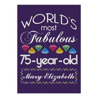75th Aniversário a maioria de gemas coloridas Convite Personalizado