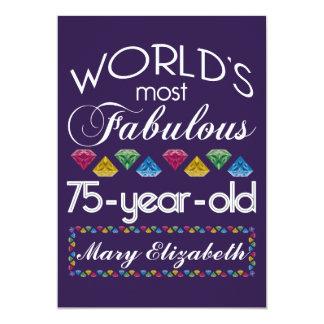 75th Aniversário a maioria de gemas coloridas Convite 12.7 X 17.78cm