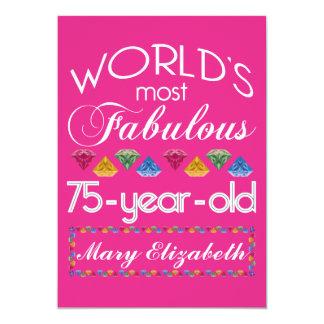 75th Aniversário a maioria de rosa colorido Convite 12.7 X 17.78cm