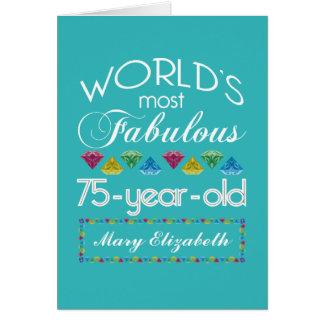 75th Aniversário a maioria de turquesa colorida Cartão Comemorativo
