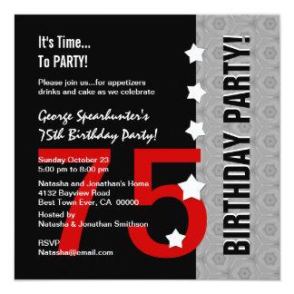 75th Aniversário D845E1 engraçado preto de prata Convite Quadrado 13.35 X 13.35cm