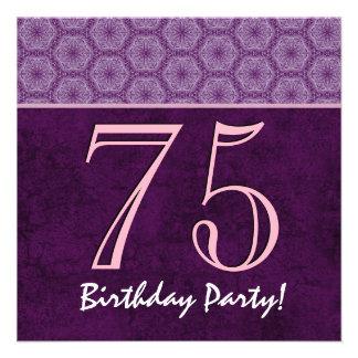 75th Aniversário ou algum teste padrão roxo V01 do Convites