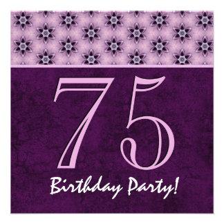 75th Aniversário ou algum teste padrão roxo V03 do Convites