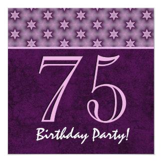 75th Aniversário ou algum teste padrão roxo V04 do Convite Quadrado 13.35 X 13.35cm