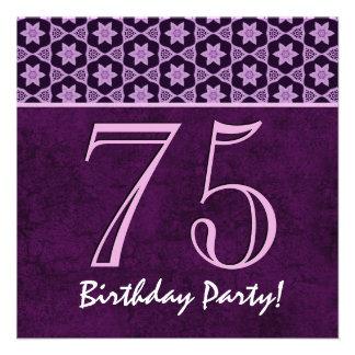 75th Aniversário ou algum teste padrão roxo V05 do Convites