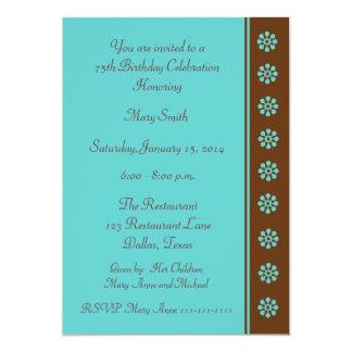 75th Aqua e Brown do convite de aniversário