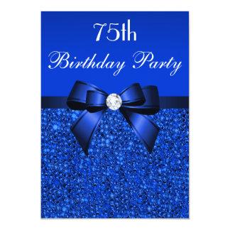 75th Arco e diamante dos Sequins dos azuis Convite 12.7 X 17.78cm