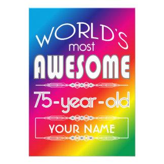 75th Arco-íris fabuloso dos mundos do aniversário Convites Personalizados
