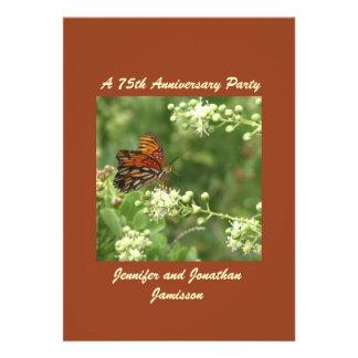 75th Borboleta do convite da festa de aniversário