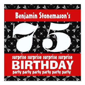 75th Branco vermelho do preto da festa de Convites
