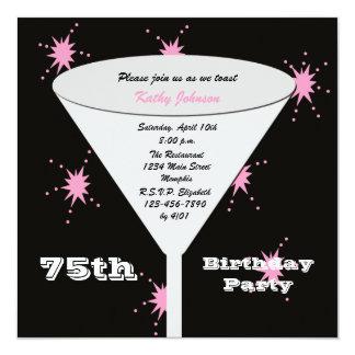 75th Brinde do rosa 75th do convite de aniversário