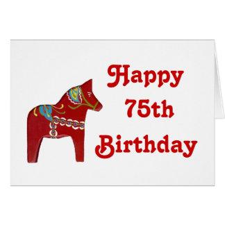 75th Cartão de aniversário com cavalo de Dala
