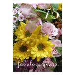 75th Celebração do aniversário! - Flores cor-de-ro Convites Personalizados