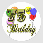 75th celebração feliz do aniversário adesivos