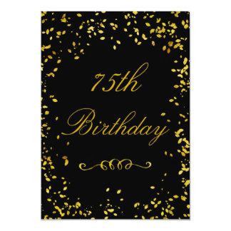 75th Confetes glamoroso do ouro do aniversário Convite 12.7 X 17.78cm