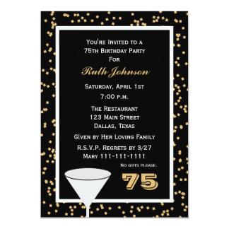 75th Convite de aniversário -- 75 e confetes
