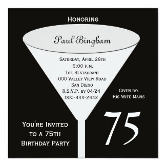 75th Convite de aniversário 75 no preto