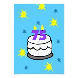 75th Convite de aniversário -- Bolo & 75 velas