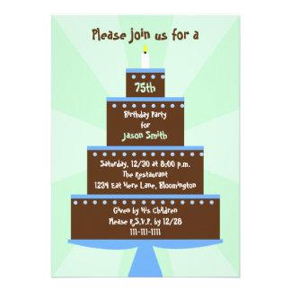 75th Convite de aniversário -- Bolo no verde