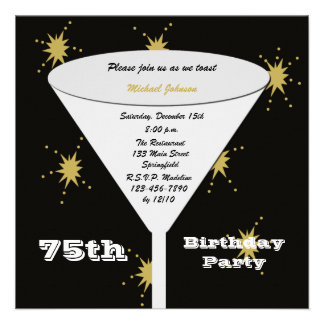 75th Convite de aniversário -- Brinde do ouro 75th