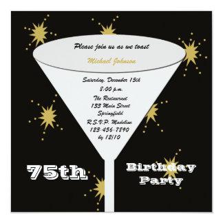 75th Convite de aniversário -- Brinde do ouro 75th Convite Quadrado 13.35 X 13.35cm