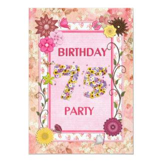 75th convite de aniversário com quadro floral