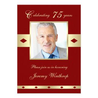 75th Convite de aniversário da foto - Borgonha 75