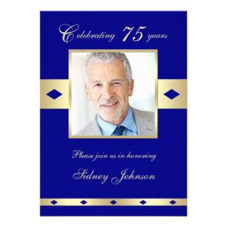 75th Convite de aniversário da foto - marinho 75