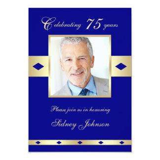 75th Convite de aniversário da foto - marinho 75 Convite 12.7 X 17.78cm