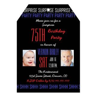 75th Convite de aniversário da surpresa para
