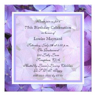 75th convite de aniversário - Hydrangeas