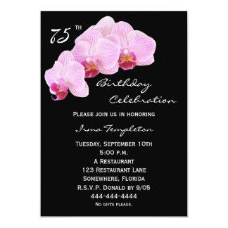 75th Convite de aniversário -- Orquídeas Convite 12.7 X 17.78cm