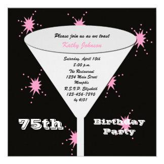 75th Convite de aniversário -- Pique o 75th brinde