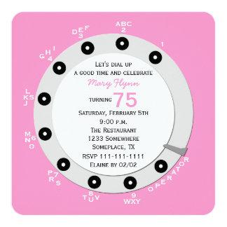 75th convite de aniversário retro cor-de-rosa