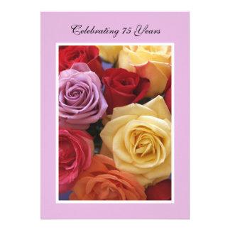 75th Convite de aniversário -- Rosas bonitos