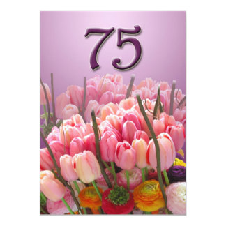 75th convite de aniversário - tulipas