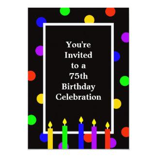 75th Convite de aniversário -- Velas coloridas
