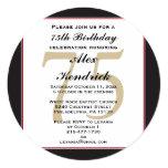 75th Convite do aniversário Convite Quadrado 13.35 X 13.35cm