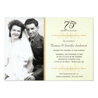 75th convites elegantes do aniversário com foto convite 12.7 x 17.78cm