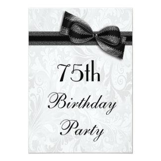 75th Damasco da festa de aniversário e arco do Convite 12.7 X 17.78cm
