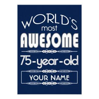 75th Do aniversário dos mundos azul escuro Convites Personalizados