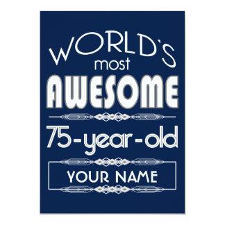 75th Do aniversário dos mundos azul escuro Convite 12.7 X 17.78cm