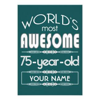 75th Do aniversário dos mundos verde escuro Convites Personalizado