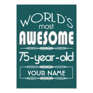 75th Do aniversário dos mundos verde escuro Convite 12.7 X 17.78cm
