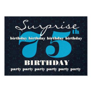 75th Festa de aniversário azul e da meia-noite da Convite 12.7 X 17.78cm