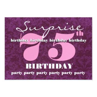 75th Festa de aniversário cor-de-rosa roxa D310 da Convite 12.7 X 17.78cm